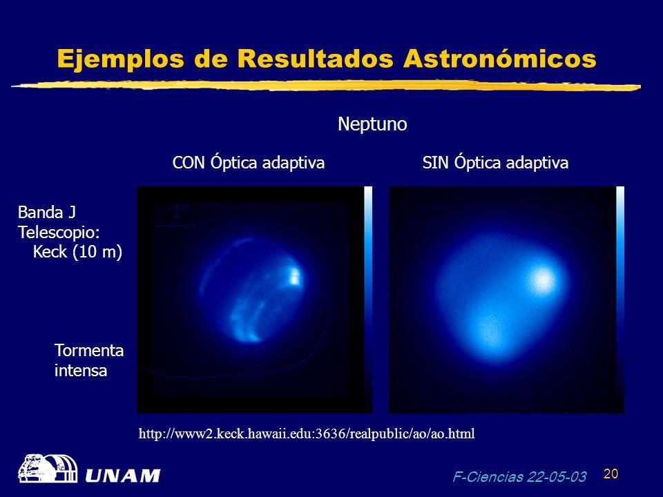 F-Ciencias 22-05-03 20 Ejemplos de Resultados Astronómicos Neptuno CON Óptica adaptivaSIN Óptica adaptiva Banda J Telescopio: Keck (10 m) Tormenta int