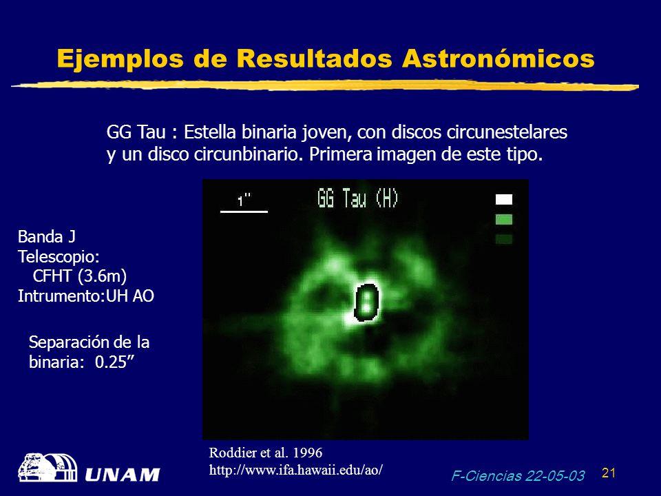 F-Ciencias 22-05-03 21 Ejemplos de Resultados Astronómicos GG Tau : Estella binaria joven, con discos circunestelares y un disco circunbinario. Primer