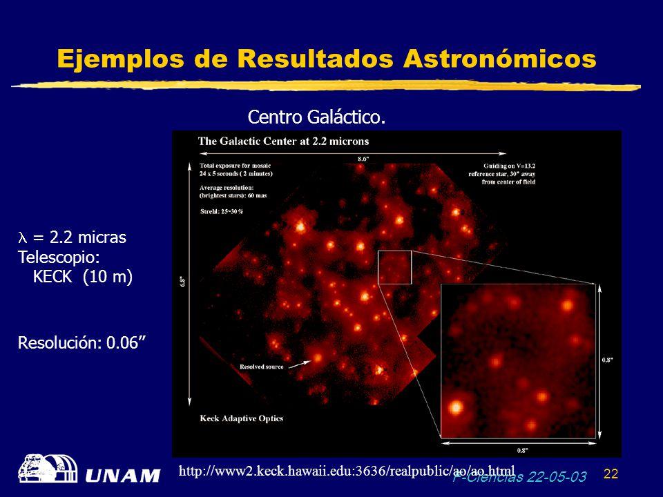 F-Ciencias 22-05-03 22 Ejemplos de Resultados Astronómicos Centro Galáctico. = 2.2 micras Telescopio: KECK (10 m) Resolución: 0.06 http://www2.keck.ha
