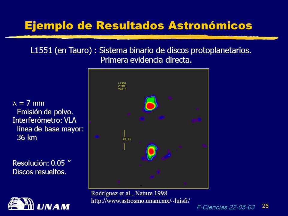 F-Ciencias 22-05-03 26 Ejemplo de Resultados Astronómicos L1551 (en Tauro) : Sistema binario de discos protoplanetarios. Primera evidencia directa. =