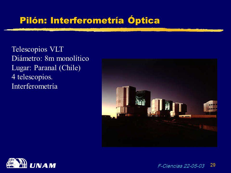 F-Ciencias 22-05-03 29 Pilón: Interferometría Óptica Telescopios VLT Diámetro: 8m monolítico Lugar: Paranal (Chile) 4 telescopios. Interferometría