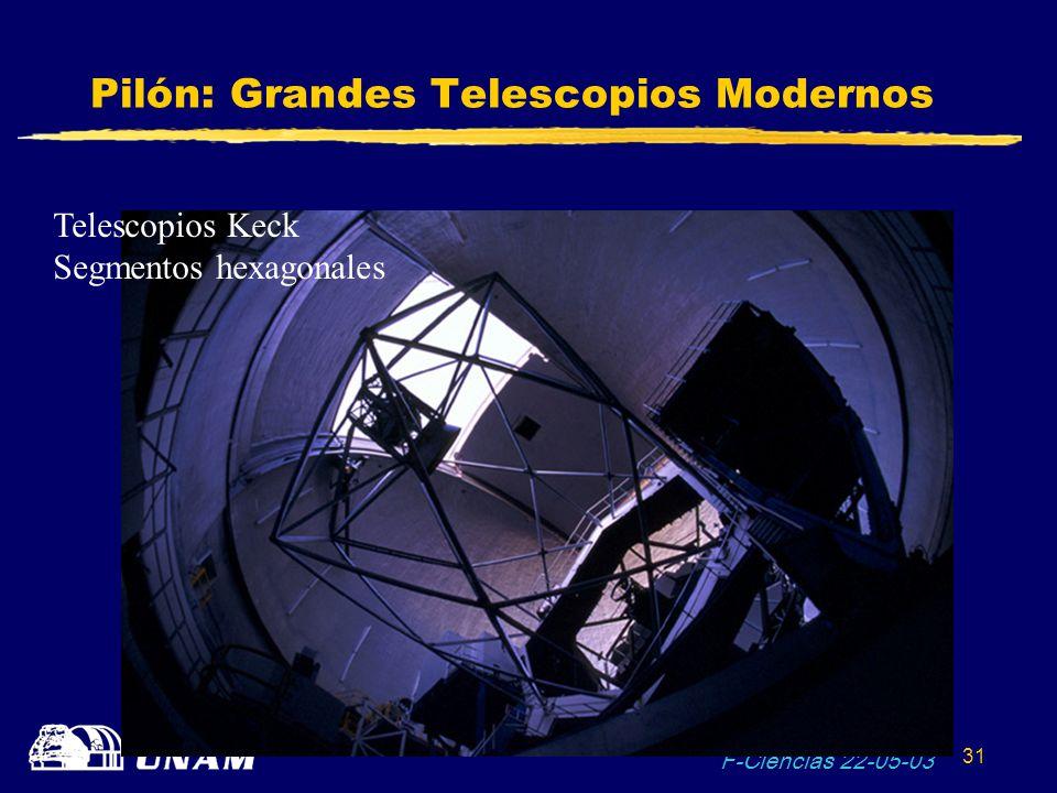 F-Ciencias 22-05-03 31 Pilón: Grandes Telescopios Modernos Telescopios Keck Segmentos hexagonales