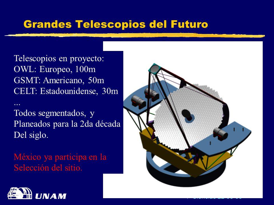 F-Ciencias 22-05-03 33 Grandes Telescopios del Futuro Telescopios en proyecto: OWL: Europeo, 100m GSMT: Americano, 50m CELT: Estadounidense, 30m... To