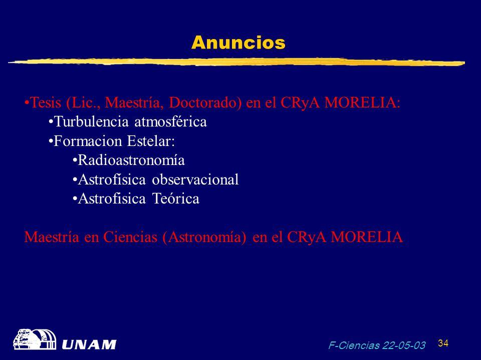F-Ciencias 22-05-03 34 Anuncios Tesis (Lic., Maestría, Doctorado) en el CRyA MORELIA: Turbulencia atmosférica Formacion Estelar: Radioastronomía Astro
