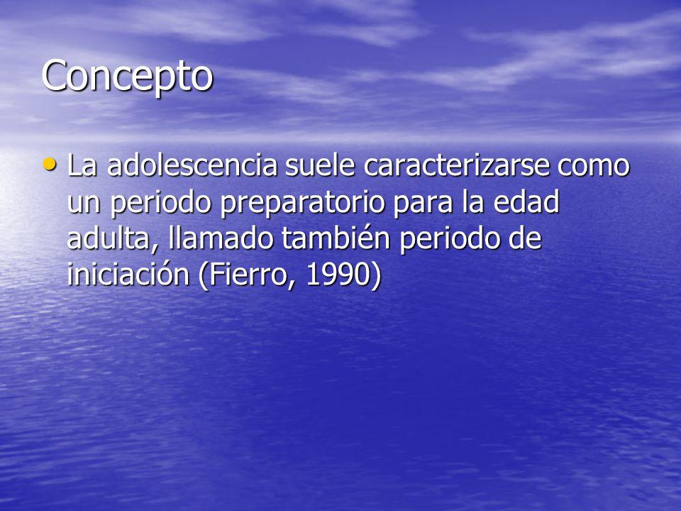 Concepto La adolescencia suele caracterizarse como un periodo preparatorio para la edad adulta, llamado también periodo de iniciación (Fierro, 1990) L