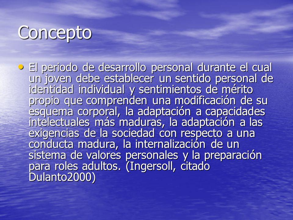 Concepto El periodo de desarrollo personal durante el cual un joven debe establecer un sentido personal de identidad individual y sentimientos de méri