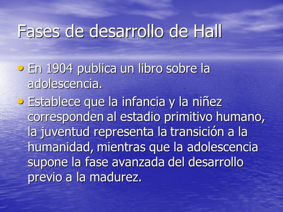 Fases de desarrollo de Hall En 1904 publica un libro sobre la adolescencia. En 1904 publica un libro sobre la adolescencia. Establece que la infancia
