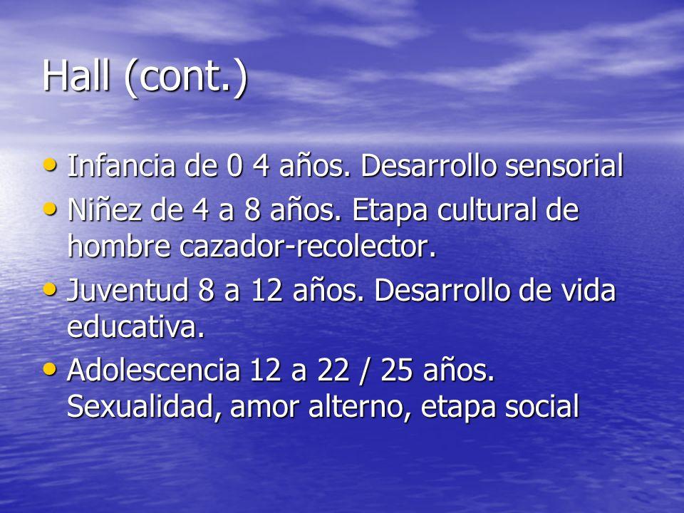 Hall (cont.) Infancia de 0 4 años. Desarrollo sensorial Infancia de 0 4 años. Desarrollo sensorial Niñez de 4 a 8 años. Etapa cultural de hombre cazad