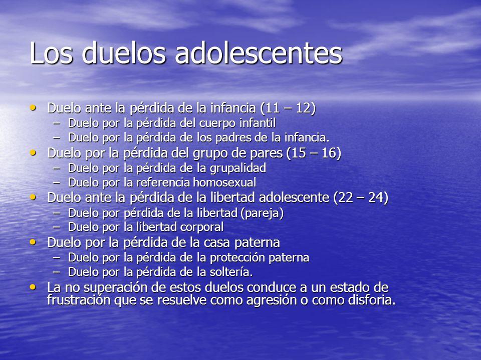 Los duelos adolescentes Duelo ante la pérdida de la infancia (11 – 12) Duelo ante la pérdida de la infancia (11 – 12) –Duelo por la pérdida del cuerpo