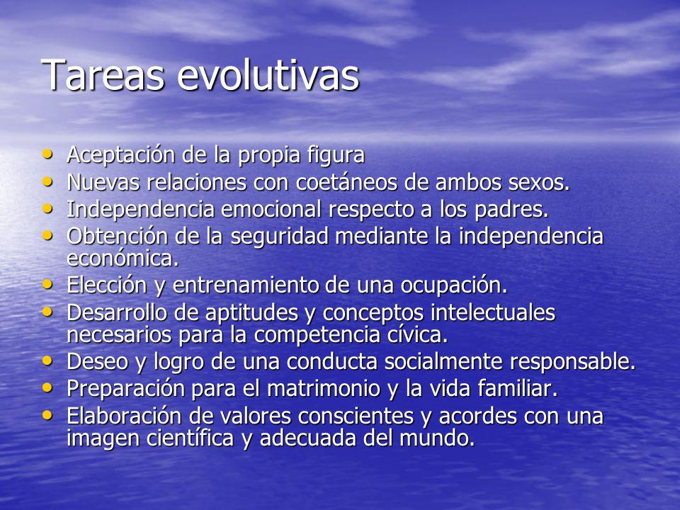Tareas evolutivas Aceptación de la propia figura Aceptación de la propia figura Nuevas relaciones con coetáneos de ambos sexos. Nuevas relaciones con