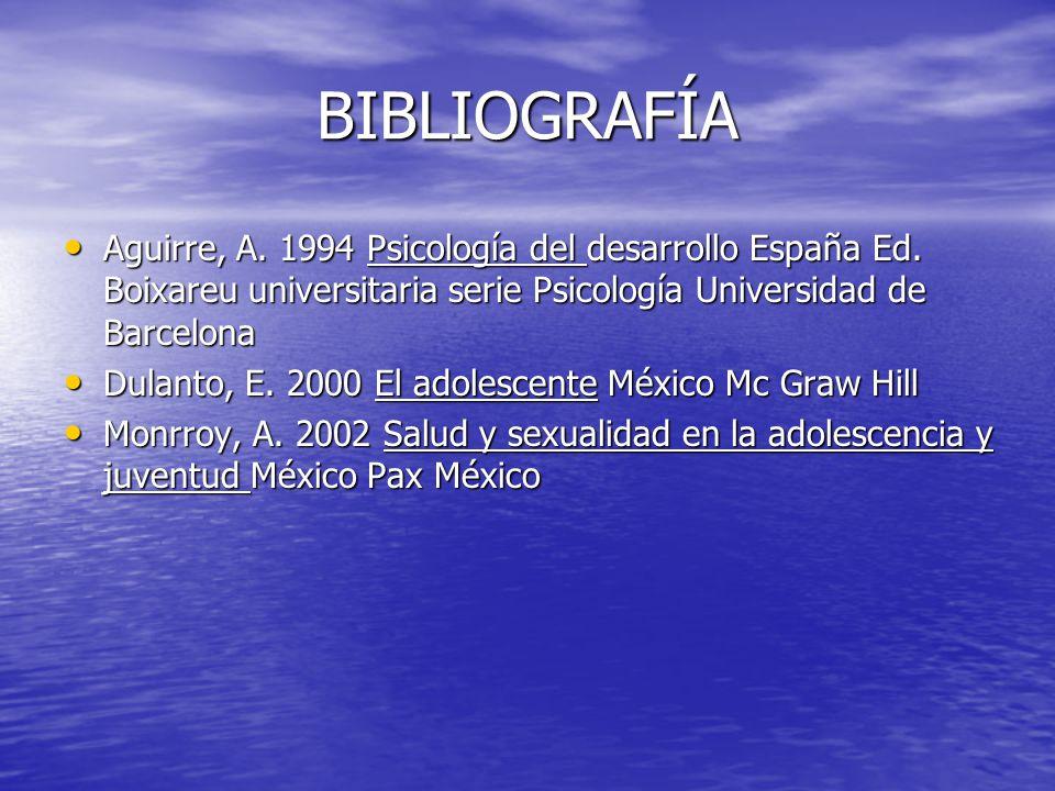 BIBLIOGRAFÍA Aguirre, A. 1994 Psicología del desarrollo España Ed. Boixareu universitaria serie Psicología Universidad de Barcelona Aguirre, A. 1994 P