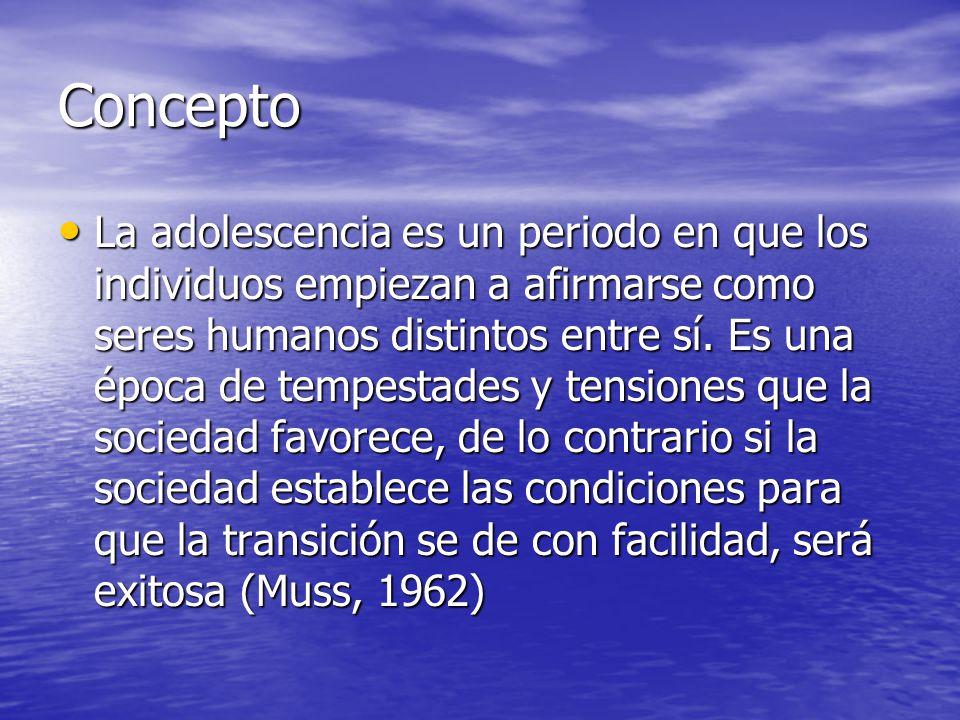 Concepto La adolescencia es un periodo en que los individuos empiezan a afirmarse como seres humanos distintos entre sí. Es una época de tempestades y