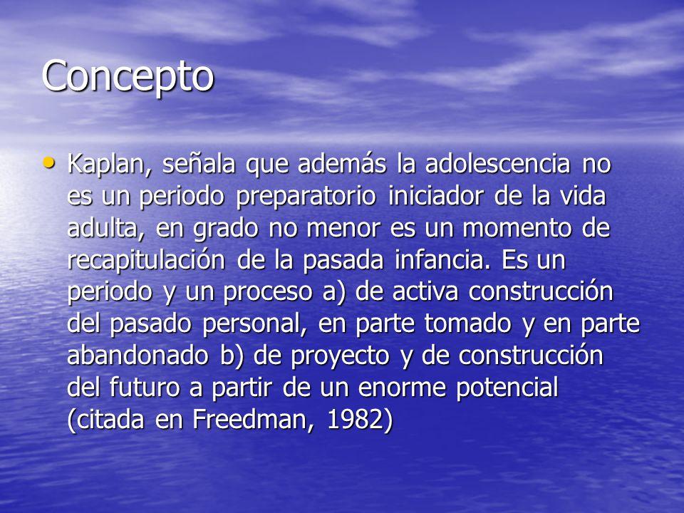 Concepto Kaplan, señala que además la adolescencia no es un periodo preparatorio iniciador de la vida adulta, en grado no menor es un momento de recap