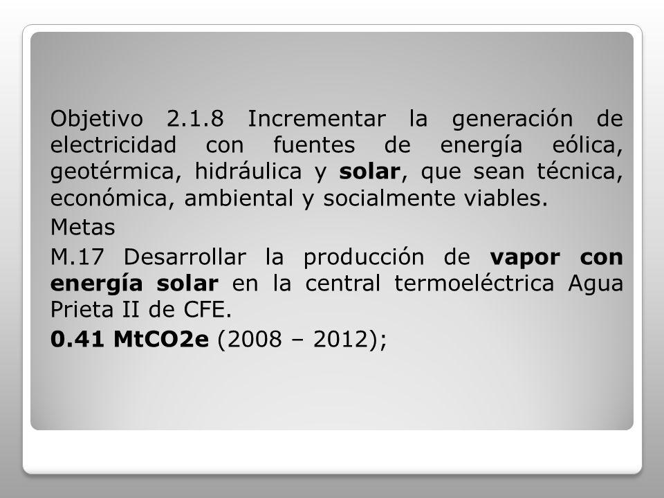 Objetivo 2.1.8 Incrementar la generación de electricidad con fuentes de energía eólica, geotérmica, hidráulica y solar, que sean técnica, económica, a