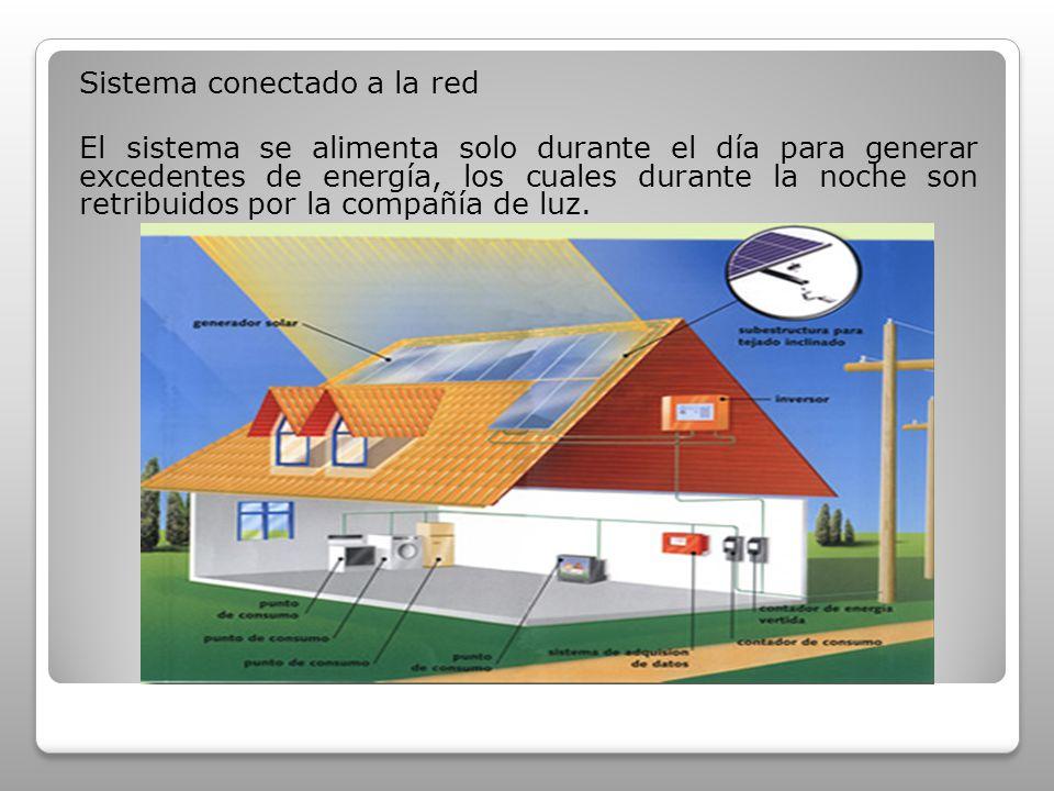 Sistema conectado a la red El sistema se alimenta solo durante el día para generar excedentes de energía, los cuales durante la noche son retribuidos