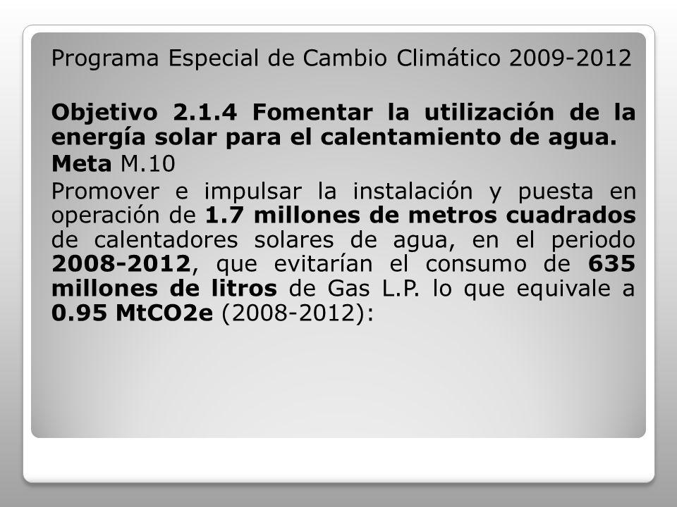 Programa Especial de Cambio Climático 2009-2012 Objetivo 2.1.4 Fomentar la utilización de la energía solar para el calentamiento de agua. Meta M.10 Pr