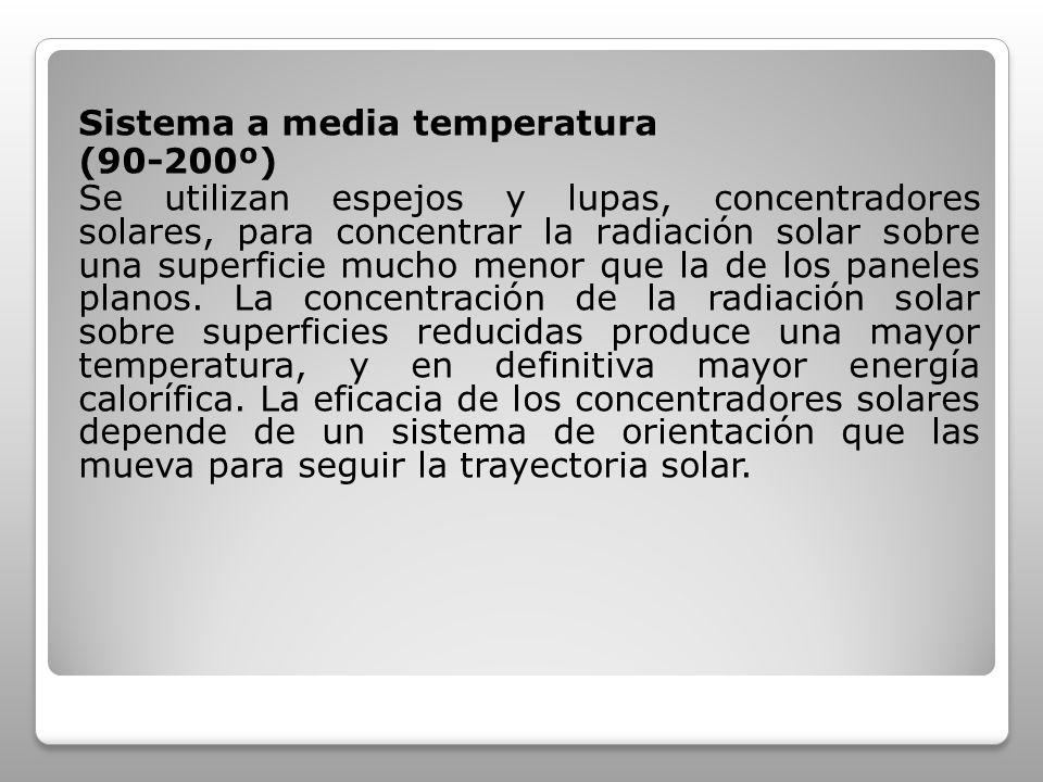 Sistema a media temperatura (90-200º) Se utilizan espejos y lupas, concentradores solares, para concentrar la radiación solar sobre una superficie muc