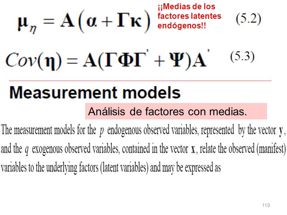 119 ¡¡Medias de los factores latentes endógenos!! Análisis de factores con medias.