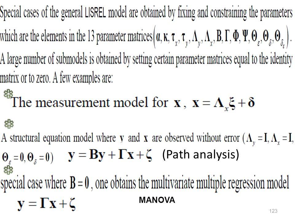 (Path analysis) 123 MANOVA
