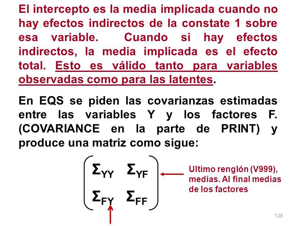 128 El intercepto es la media implicada cuando no hay efectos indirectos de la constate 1 sobre esa variable. Cuando si hay efectos indirectos, la med