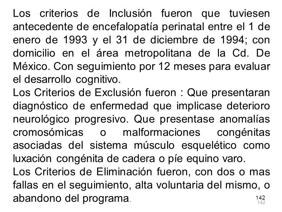 142 Los criterios de Inclusión fueron que tuviesen antecedente de encefalopatía perinatal entre el 1 de enero de 1993 y el 31 de diciembre de 1994; co