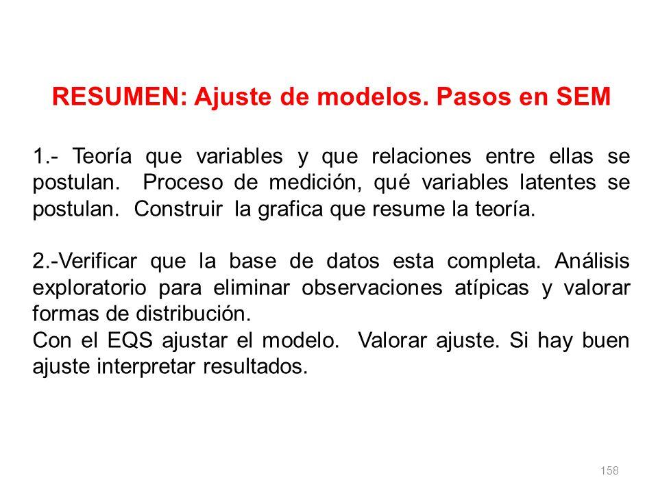 158 RESUMEN: Ajuste de modelos. Pasos en SEM 1.- Teoría que variables y que relaciones entre ellas se postulan. Proceso de medición, qué variables lat