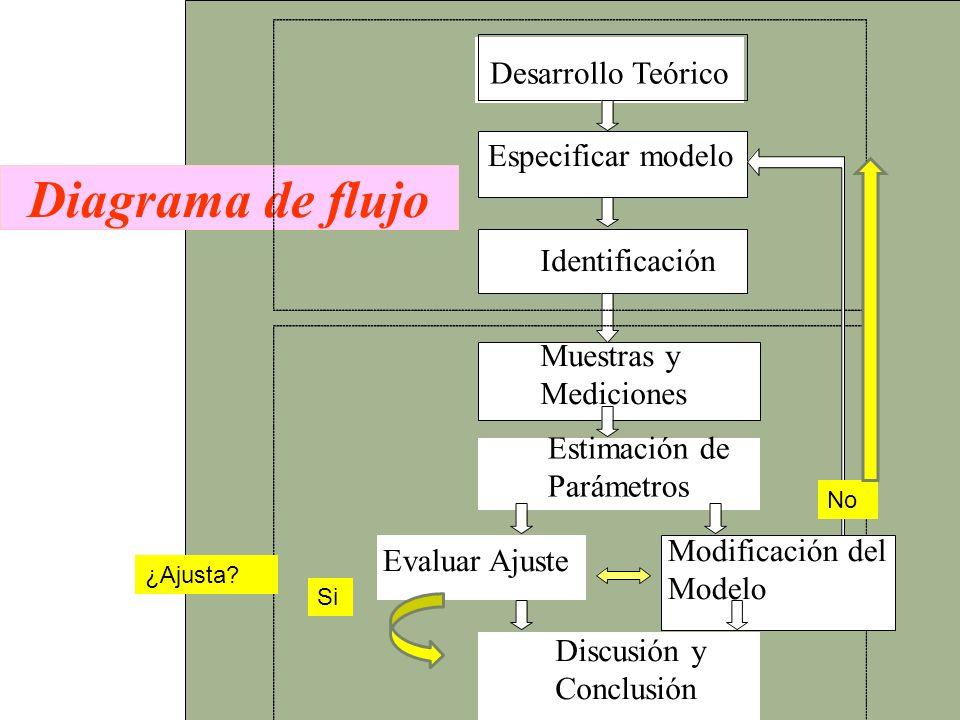 Diagrama de flujo Desarrollo Teórico Especificar modelo Identificación Evaluar Ajuste Muestras y Mediciones Estimación de Parámetros Modificación del
