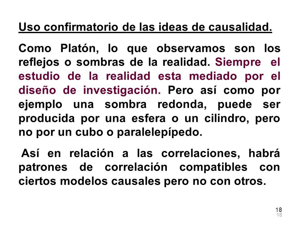 18 Uso confirmatorio de las ideas de causalidad. Como Platón, lo que observamos son los reflejos o sombras de la realidad. Siempre el estudio de la re
