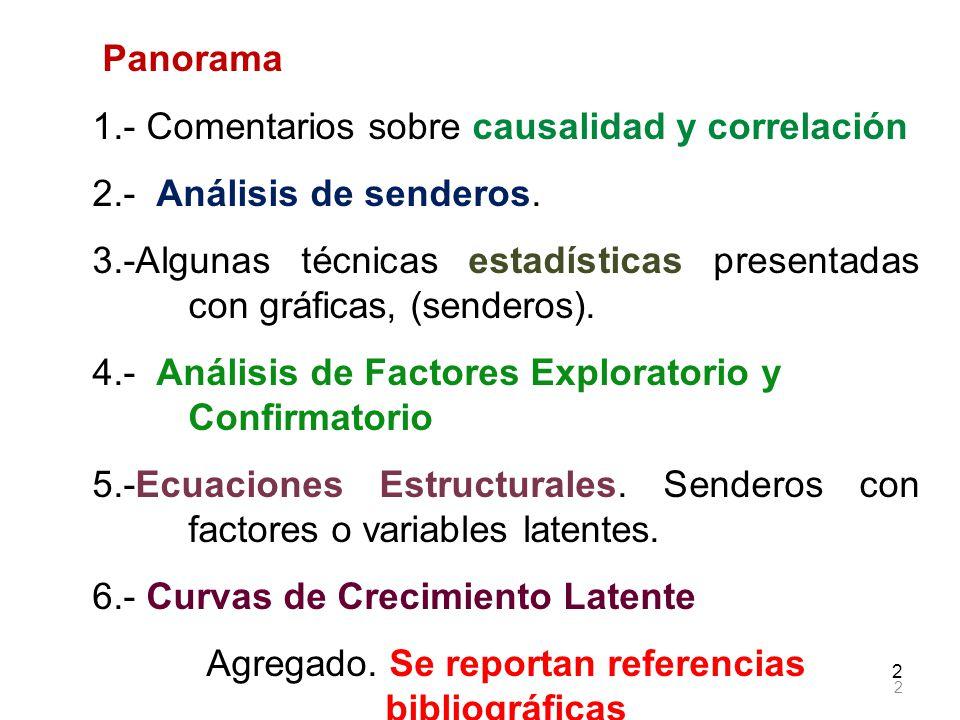 2 2 Panorama 1.- Comentarios sobre causalidad y correlación 2.- Análisis de senderos. 3.-Algunas técnicas estadísticas presentadas con gráficas, (send