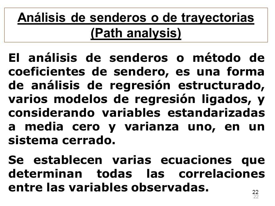 22 El análisis de senderos o método de coeficientes de sendero, es una forma de análisis de regresión estructurado, varios modelos de regresión ligado