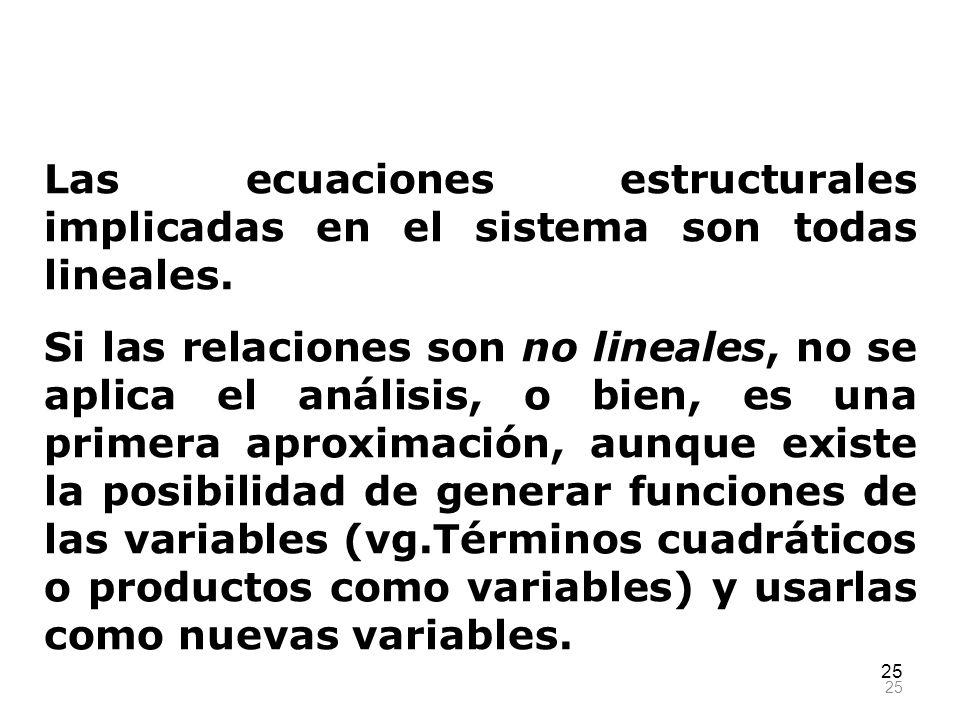 25 Las ecuaciones estructurales implicadas en el sistema son todas lineales. Si las relaciones son no lineales, no se aplica el análisis, o bien, es u