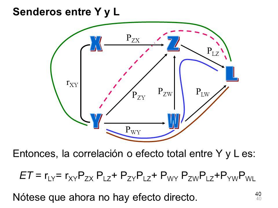 40 Senderos entre Y y L Entonces, la correlación o efecto total entre Y y L es: ET = r LY = r XY P ZX P LZ + P ZY P LZ + P WY P ZW P LZ +P YW P WL r X