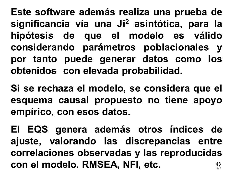 43 Este software además realiza una prueba de significancia vía una Ji 2 asintótica, para la hipótesis de que el modelo es válido considerando parámet