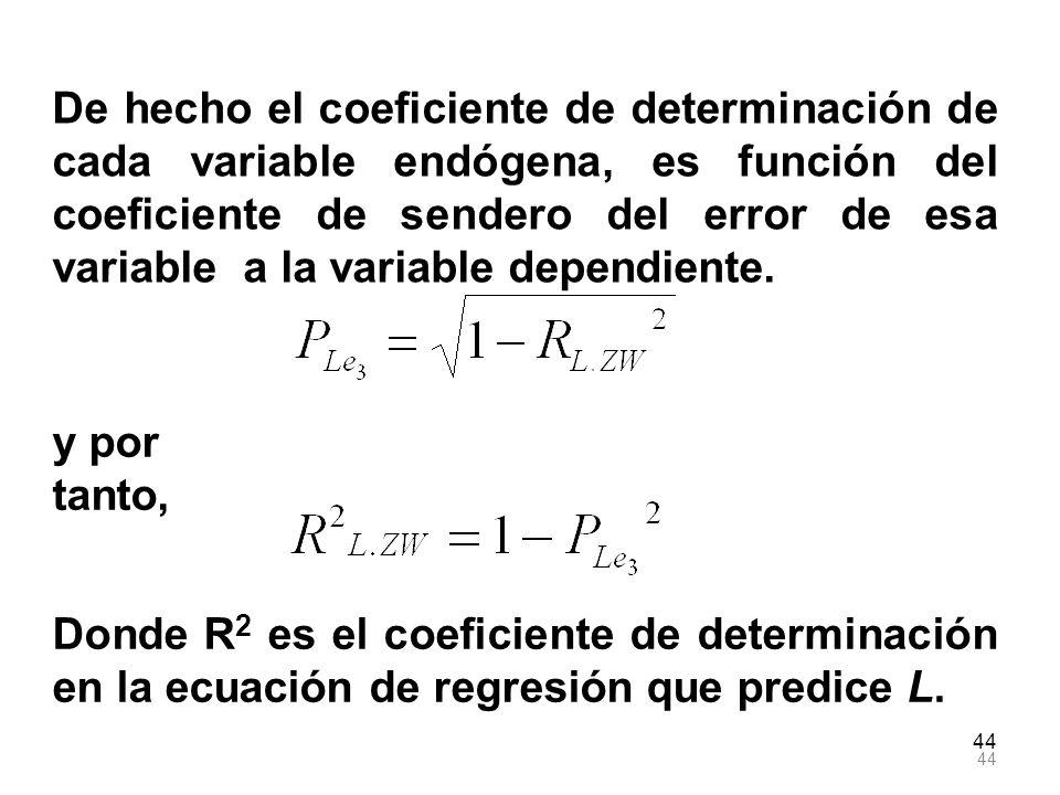 44 De hecho el coeficiente de determinación de cada variable endógena, es función del coeficiente de sendero del error de esa variable a la variable d