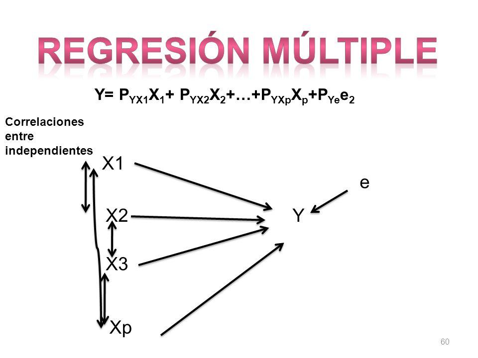 60 Y= P YX1 X 1 + P YX2 X 2 +…+P YXp X p +P Ye e 2 YX2 e Xp X3 X1 Correlaciones entre independientes