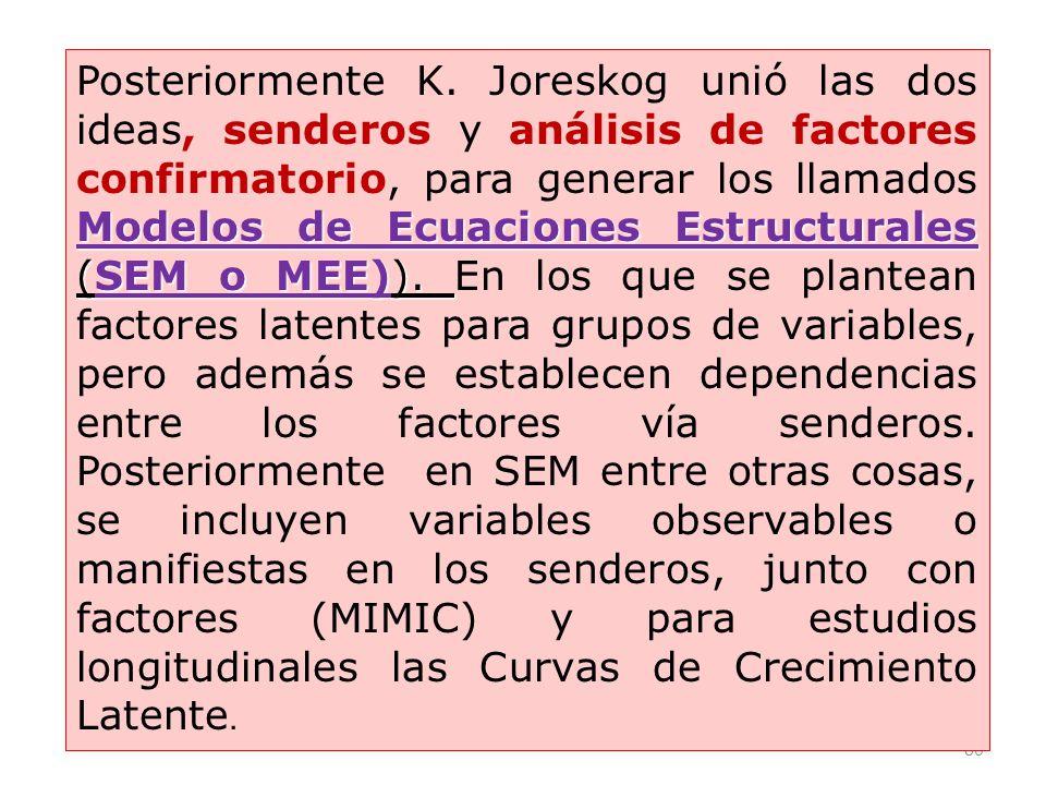 80 Modelos de Ecuaciones Estructurales (SEM o MEE)). Posteriormente K. Joreskog unió las dos ideas, senderos y análisis de factores confirmatorio, par