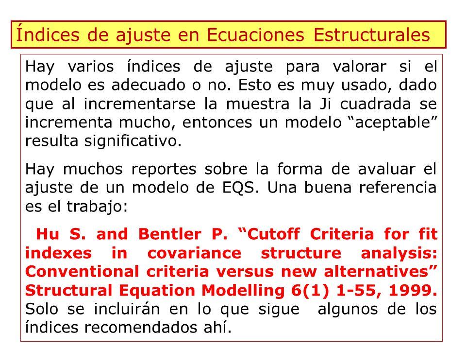 97 Índices de ajuste en Ecuaciones Estructurales Hay varios índices de ajuste para valorar si el modelo es adecuado o no. Esto es muy usado, dado que