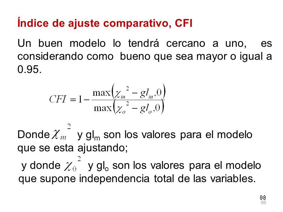 98 Índice de ajuste comparativo, CFI Un buen modelo lo tendrá cercano a uno, es considerando como bueno que sea mayor o igual a 0.95. Donde y gl m son