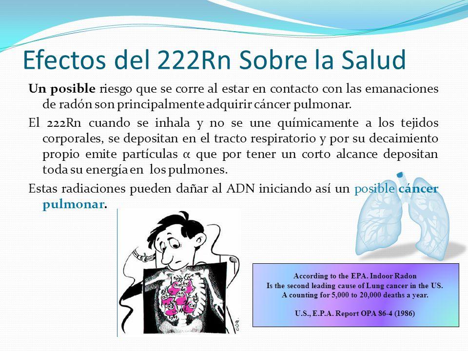 Efectos del 222Rn Sobre la Salud Un posible riesgo que se corre al estar en contacto con las emanaciones de radón son principalmente adquirir cáncer pulmonar.