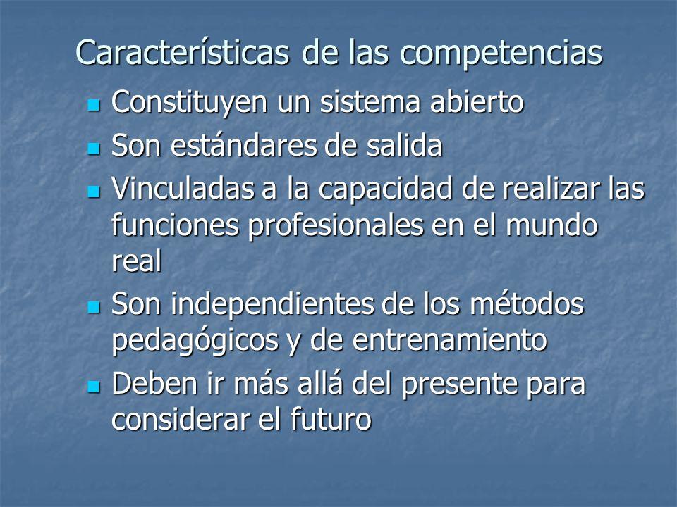 Características de las competencias Constituyen un sistema abierto Constituyen un sistema abierto Son estándares de salida Son estándares de salida Vi
