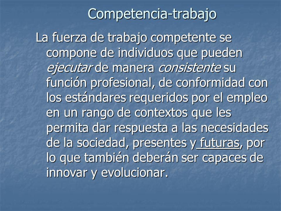 Competencia-trabajo La fuerza de trabajo competente se compone de individuos que pueden ejecutar de manera consistente su función profesional, de conf