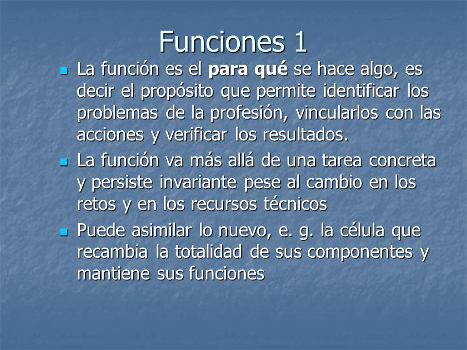 Funciones 1 La función es el para qué se hace algo, es decir el propósito que permite identificar los problemas de la profesión, vincularlos con las a
