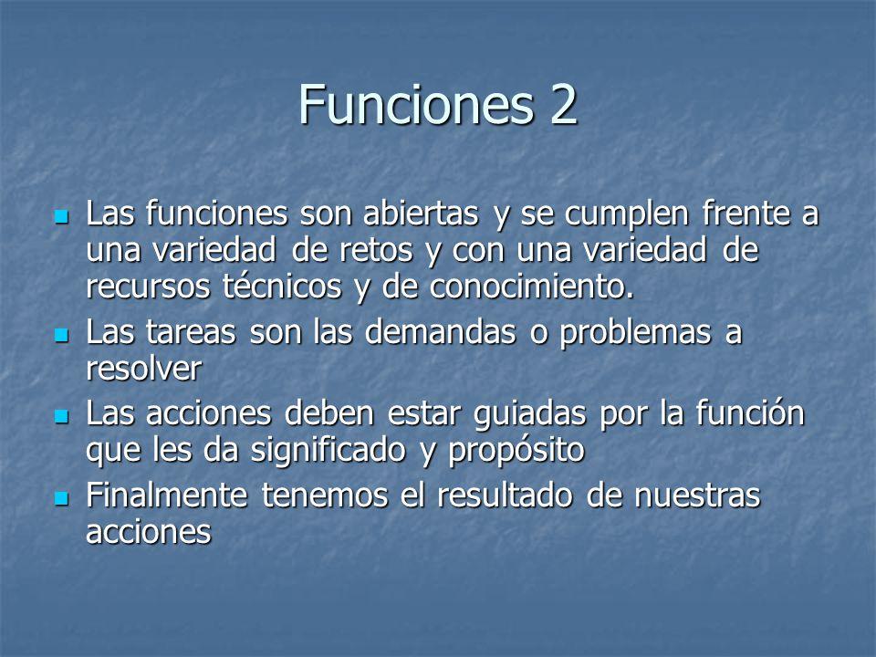 Funciones 2 Las funciones son abiertas y se cumplen frente a una variedad de retos y con una variedad de recursos técnicos y de conocimiento. Las func