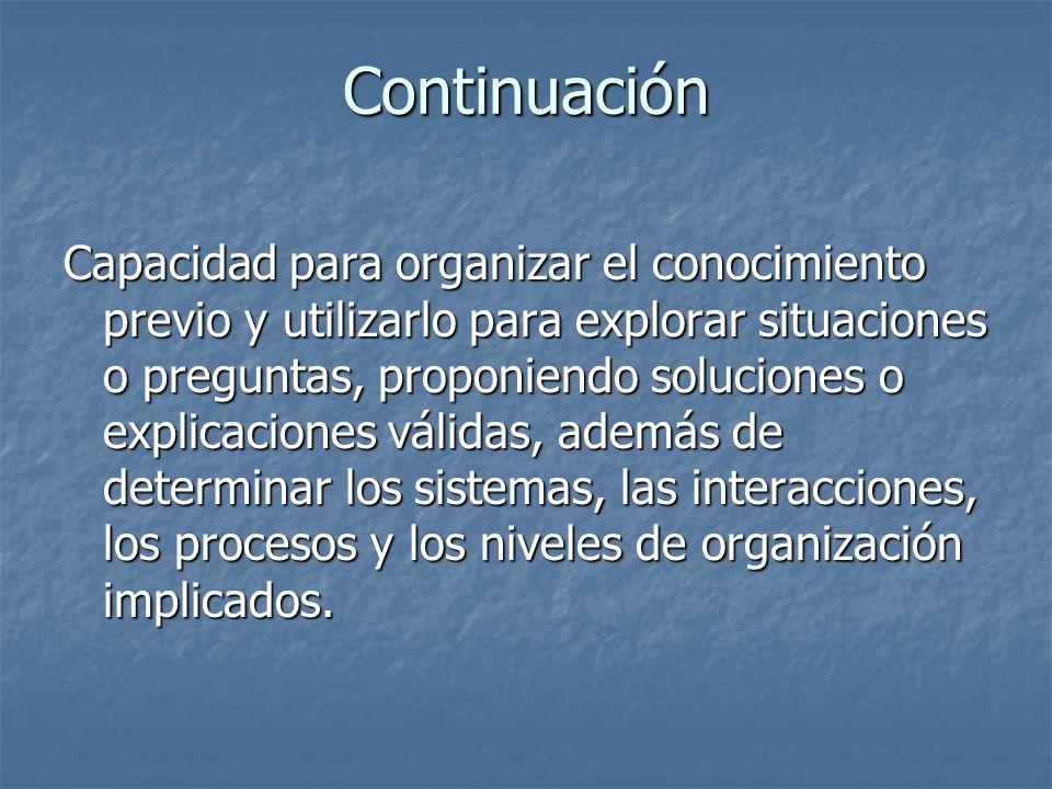 Continuación Capacidad para organizar el conocimiento previo y utilizarlo para explorar situaciones o preguntas, proponiendo soluciones o explicacione