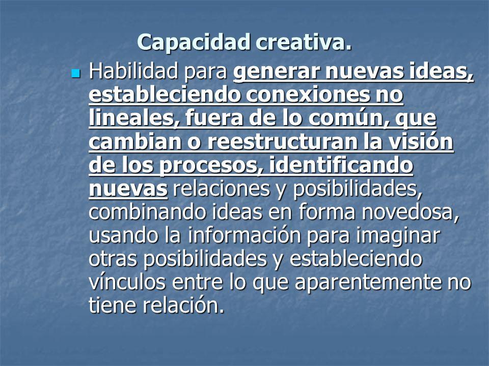 Capacidad creativa. Habilidad para generar nuevas ideas, estableciendo conexiones no lineales, fuera de lo común, que cambian o reestructuran la visió