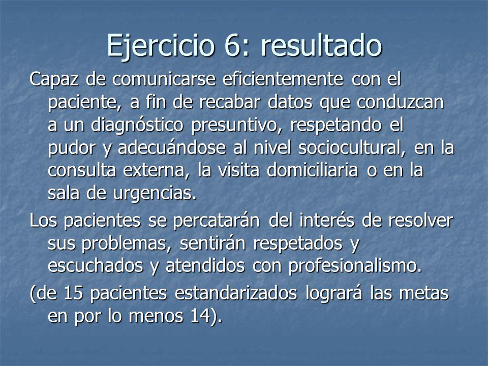 Ejercicio 6: resultado Capaz de comunicarse eficientemente con el paciente, a fin de recabar datos que conduzcan a un diagnóstico presuntivo, respetan