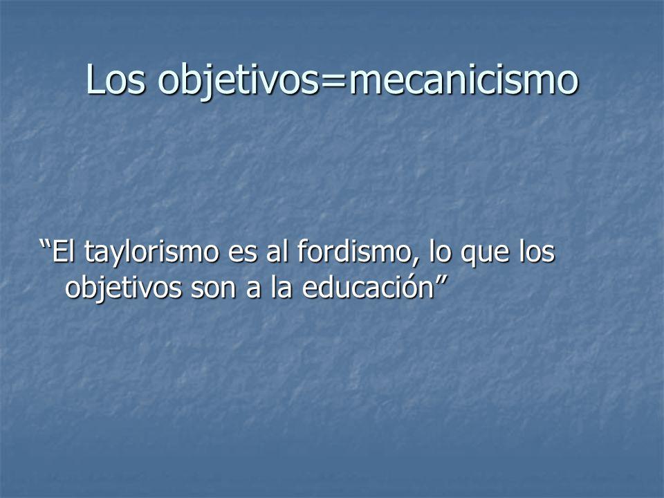 Los objetivos=mecanicismo El taylorismo es al fordismo, lo que los objetivos son a la educación