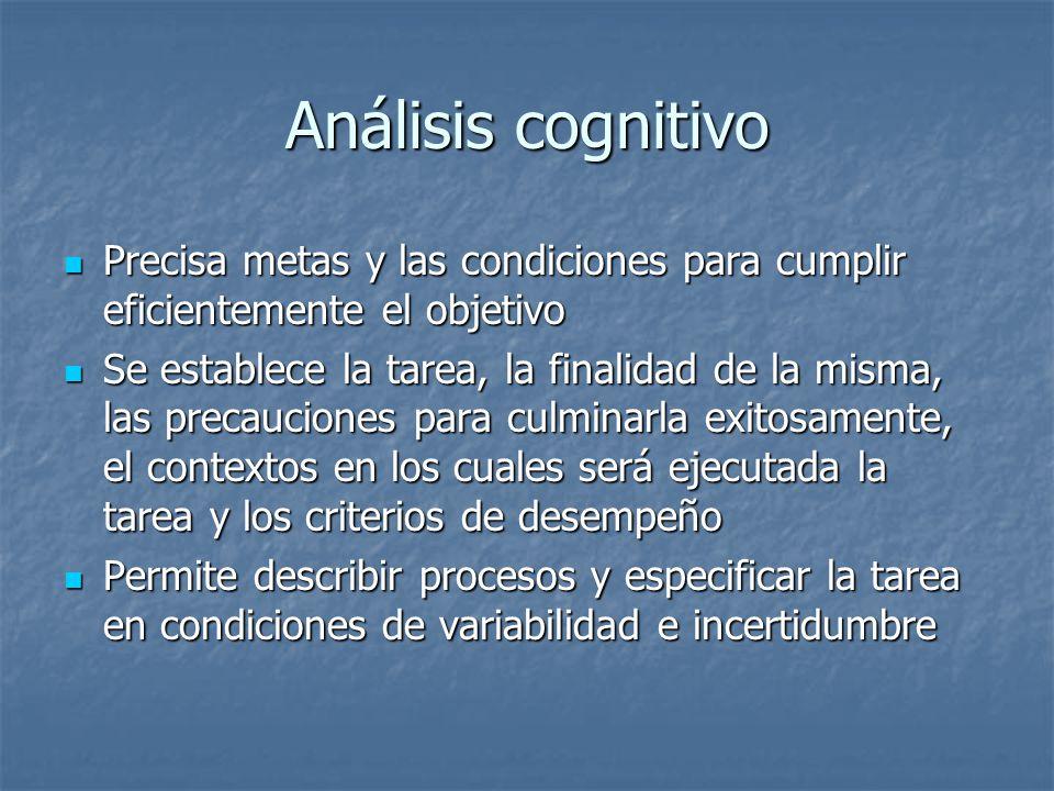 Análisis cognitivo Precisa metas y las condiciones para cumplir eficientemente el objetivo Precisa metas y las condiciones para cumplir eficientemente