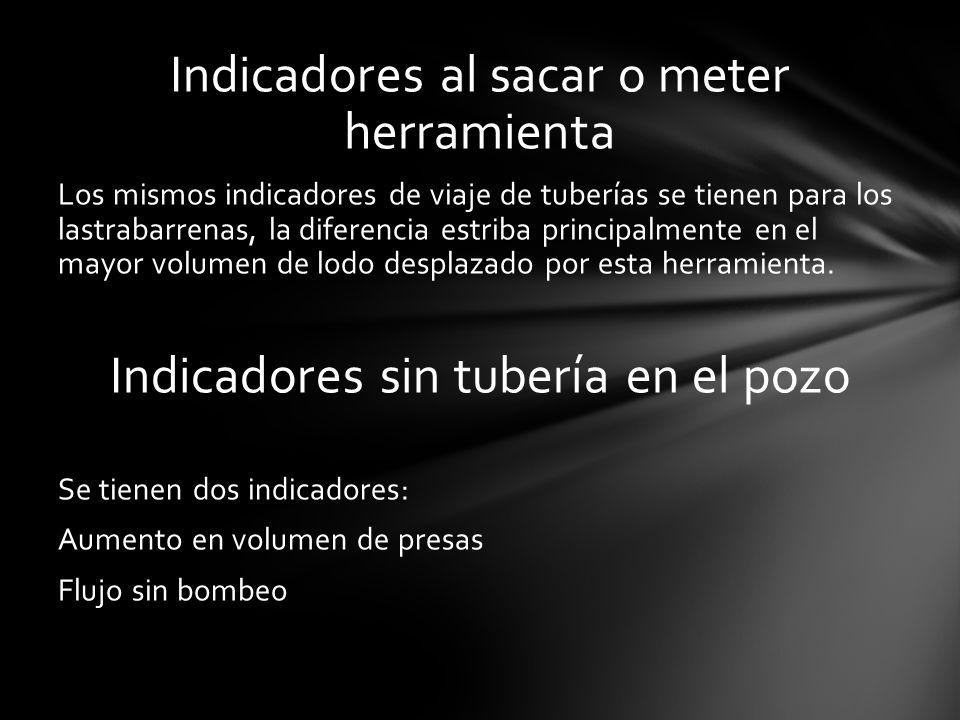 Indicadores al sacar o meter herramienta Los mismos indicadores de viaje de tuberías se tienen para los lastrabarrenas, la diferencia estriba principa