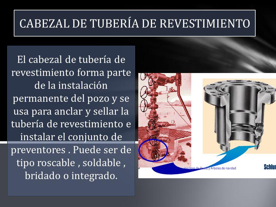 CABEZAL DE TUBERÍA DE REVESTIMIENTO El cabezal de tubería de revestimiento forma parte de la instalación permanente del pozo y se usa para anclar y se